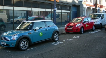 Parked Mini Cooper and Toyota Zipcars