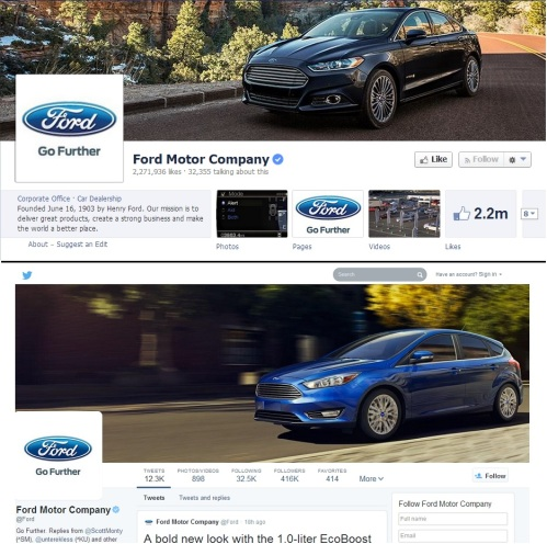 Ford Facebook and Twitter profile comparison